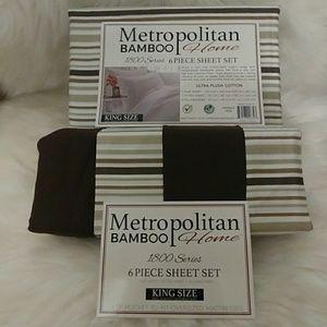 Metropolitan Bamboo Brown King Striped Sheets